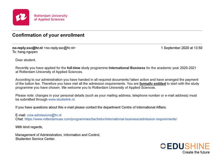Giấy báo trúng tuyển của trường Rotterdam University of Applied Sciences