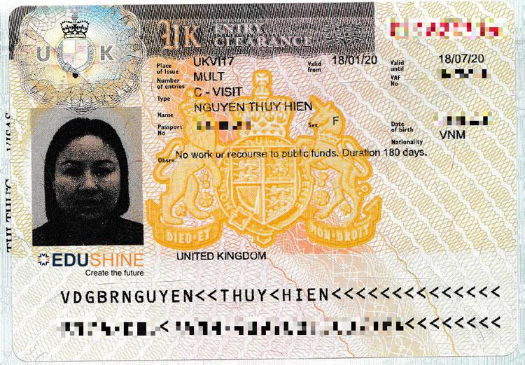 Visa của chị Nguyễn Thuý Hiền, mẹ Dũng